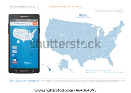 United States Of America Maps And Hawaii State Territory Vector Usa Political Map Us
