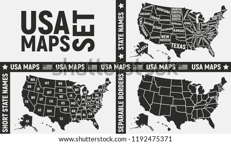 United States of America maps. Set of 3 USA maps. Poster maps of USA. American background. Vector illustration