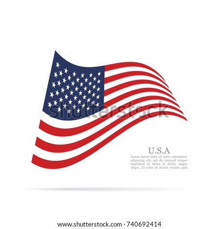 United States of America national flag waving vector icon