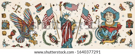 United States of America. Old school tattoo vector collection. Patriotic art. Statue of liberty, eagle, flag, map. History and culture. Traditional USA tattooing elements
