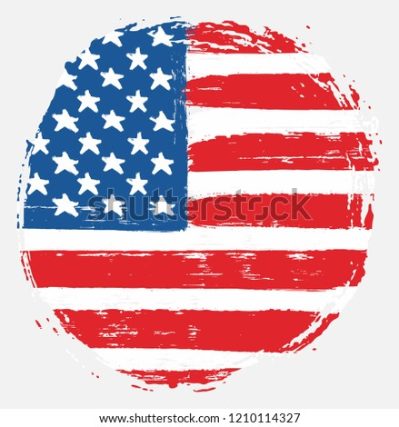 United States of America or USA Circle Flag Vector Hand Painted with Rounded Brush #1210114327