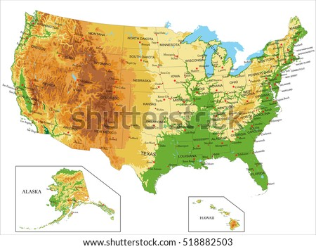 United states map vector download free vector art stock united states of america physical map sciox Images
