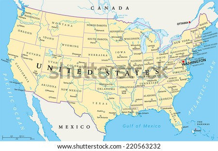 United States of America Political Map with capital Washington, national borders, most important cities, rivers and lakes. With single states, their borders and capitals, except Hawaii and Alaska. #220563232