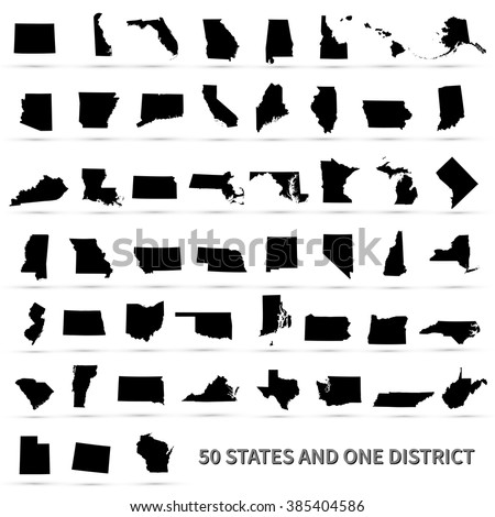 Shutterstock United States of America 50 states and 1 federal district. Set of US states maps.
