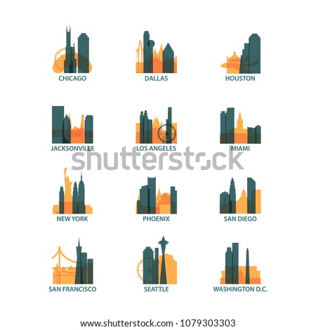 United States of America USA cities icons set, modern skyline citysape landmark logo vector pack