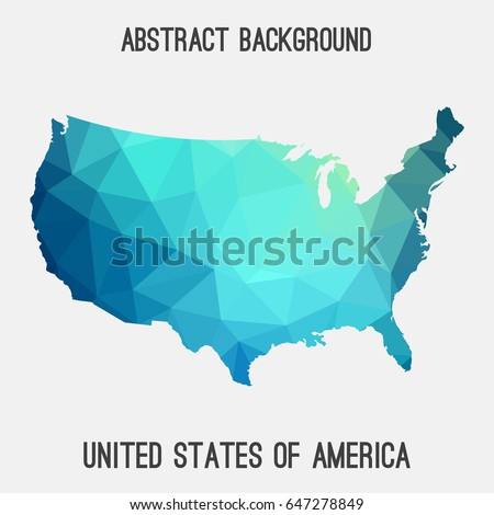 United States of America,USA ,map in geometric polygonal,mosaic style in cold shades.Abstract tessellation,modern design background,low poly. Vector illustration.