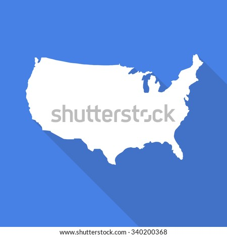 United States of America,USA white map,border flat simple style with long shadow on blue background.