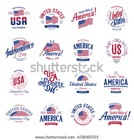 United States of America Vector Logos Vintage set. Independence day national holiday icons collection Blue and red colors USA windy flags. Retro style lettering