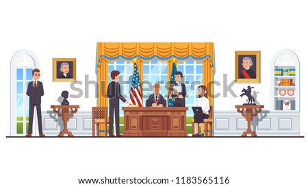 United States president sitting at his desk signing law act document in White House oval office with secretary, minister, officials, bodyguard. US president office interior. Flat vector illustration