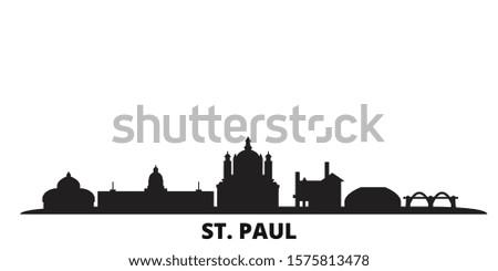 United States, St. Paul city skyline isolated vector illustration. United States, St. Paul travel black cityscape