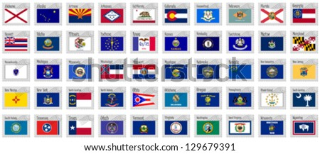united states stamps against white background, abstract vector art illustration