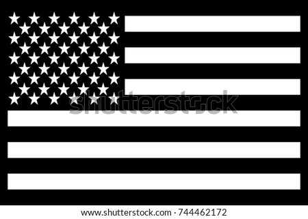 United States (USA) Flag Patch Black. Vector.