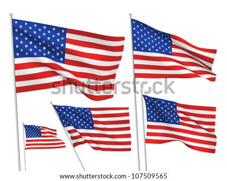 United States (USA) vector flags. A set of 5 wavy 3D flags created using gradient meshes
