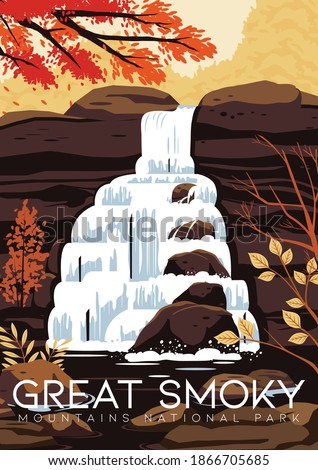 United States Vector Illustration Background. Travel to Great Smoky Mountain National Park United States of America. Flat Cartoon Vector Illustration in Colored Style. ストックフォト ©