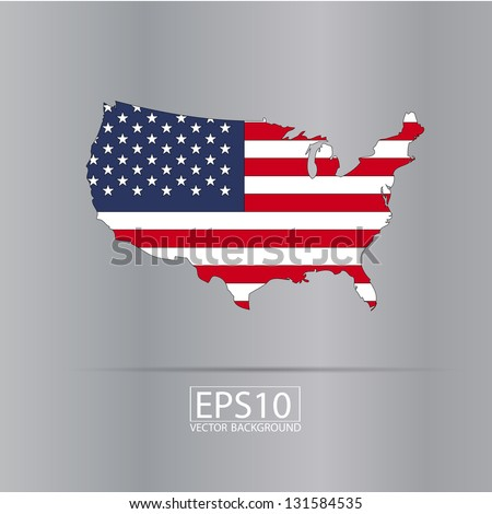 United states vector map with the flag inside.
