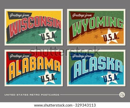 United States vintage typography postcards. Wisconsin, Wyoming, Alabama, Alaska