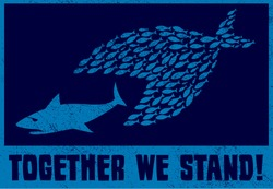 United we stand! Teamwork and collaboration concept illustration, small fish eat big fish