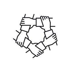 Unity and teamwork concept. Togetherness and cooperation icon. Helping hand symbol. Group of five business people holding arms. Line vector illustration.