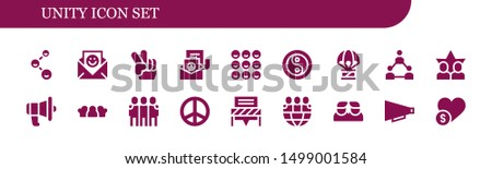 unity icon set. 18 filled unity icons.  Collection Of - Friends, Communication, Peace, Yin yang, Humanitarian, Teamwork, Charity