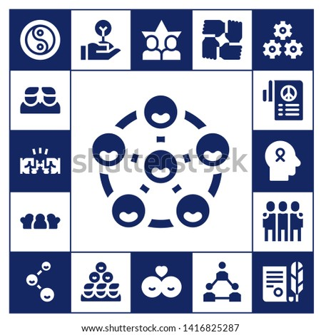unity icon set. 17 filled unity icons.  Collection Of - Yin yang, Friends, Fist, Peace, Hope, Freedom, Teamwork, Independence