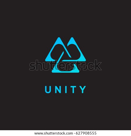 Unity icon, triangle logo, delta emblem. Vector illustration.