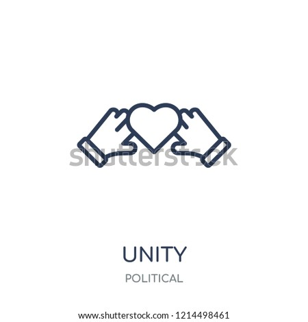 Unity icon. Unity linear symbol design from Political collection. Simple outline element vector illustration on white background.