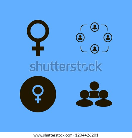 unity icon. unity vector icons set female gender symbol and people