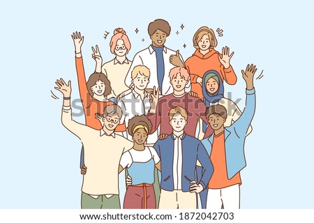 Unity in Multicultural diversity, team and friendship concept. People of different nationalities and religions members of multicultural society standing waving hands to camera vector illustration