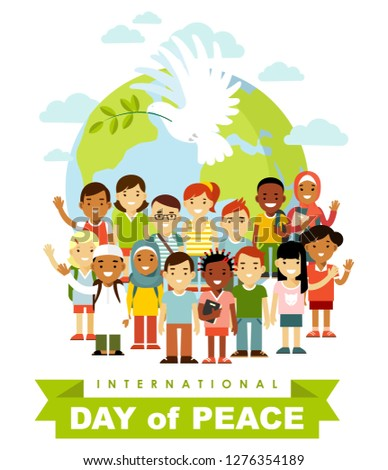 Unity of kids and dove of peace concept. Different international multicultural children standing together in front of the world
