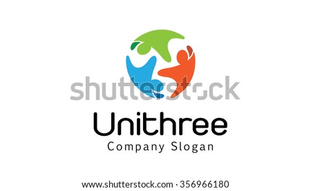 Unity Three Logo Design Illustration
