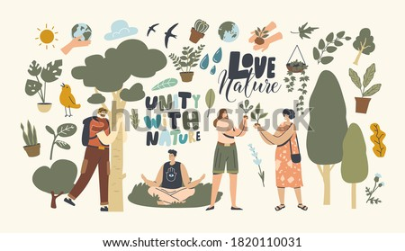 Unity with Nature, Save Planet and Ecology Protection Concept. Characters Meditate Outdoor, Hug Tree, Women Environmentalists Care of Plants Enjoying Connection with Flora. Linear Vector Illustration