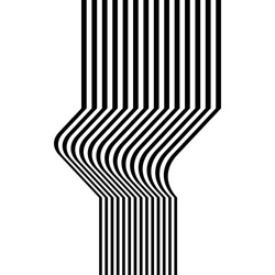 Universal abstraction of black and white vertical stripes. Vector background illustration. Optical art graphics. Can be used in cover design, book design, website background, CD cover, advertising.