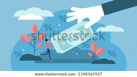 Universal basic income vector illustration. Flat tiny money receiving person concept. Economical governmental income guarantee to resident citizens equality. Social support system to reduce poverty. Foto stock ©