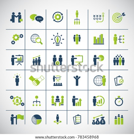 Universal business strategy icons set.