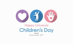 Universal Children's day celebrated on 20 November each year to promote international togetherness, awareness among children worldwide, and improving children's welfare. Vector illustration design.