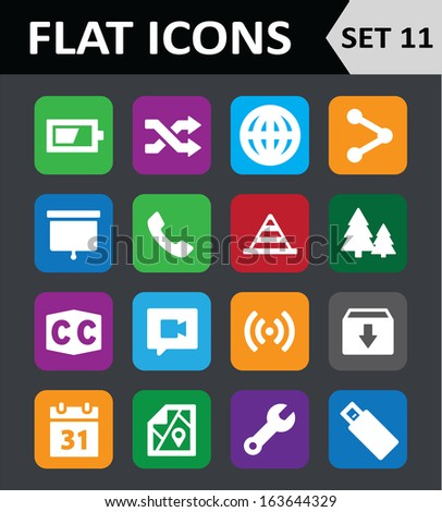 Universal Colorful Flat Icons. Set 11. Vector illustration