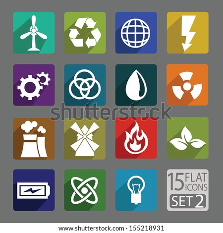 Universal flat icons for web and mobile application. Energy. Set 2
