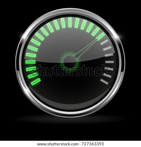 Universal gage with chrome frame on black background. Vector 3d illustration