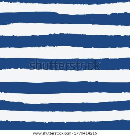 Universal gender neutral dark navy blue nautical marine coastal seamless repeat pattern with grunge torn texture jagged vector horizontal cabana stripe Stock foto ©