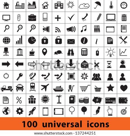 Universal icons: business, finance, travel, web