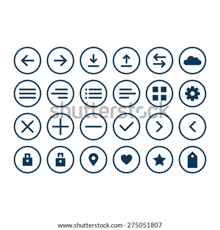 Universal icons set for web and app. Set of thin icons. Vector illustration