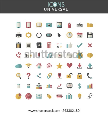 Universal Icons Social Media Finance Business Vector Concept