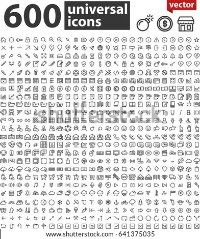 universal large thin line icon set #641375035