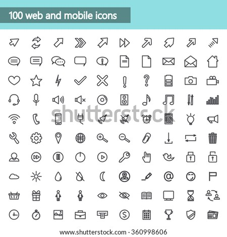 Universal linear Icons For Web and Mobile,communications. Vector illustration