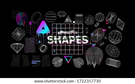 Universal modern shapes with glitch effects. Trendy cyberpunk retro futurism set, vaporwave. Digital abstract elements for web design, banners, posters and covers. Futuristic memphis. Vector
