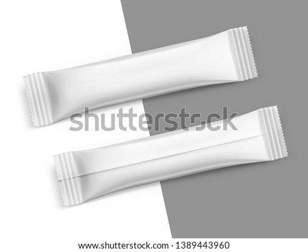 Universal stick pack for products of the food, pharmaceutical, cosmetic and chemical industry. Possibility use for granulated, powder, viscous products. Vector illustration on white background. EPS10