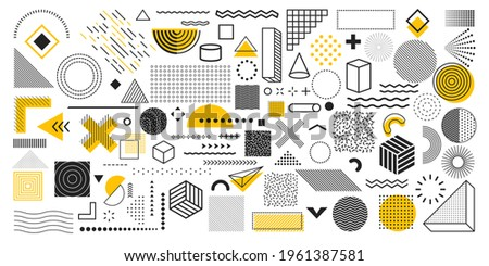 Universal trend geometric shapes. Collection of 100 geometric shapes. Memphis design elements for Magazine, leaflet, billboard, sale, web, advertisement, poster. Outline hatching forms or dots Stockfoto ©