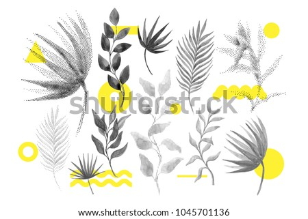 Universal trend halftone floral set juxtaposed with bright bold geometric leaves foliage yellow elements composition. Design elements for Magazine, leaflet, billboard, sale