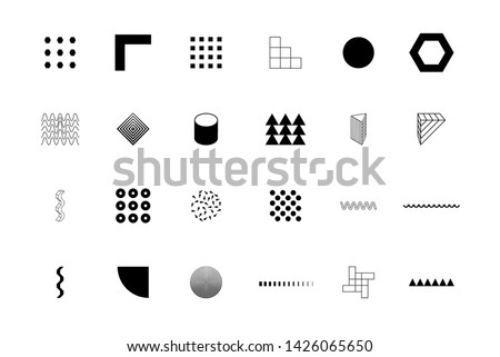 Universal trend halftone geometric shapes set juxtaposed with bright bold elements. Design elements for Logo, Magazine, leaflet, billboard, sale