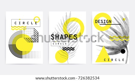 Universal trend pattern set juxtaposed with bright bold geometric leaves foliage yellow elements composition. Background in restrained sustained tempered style. Magazine, leaflet, billboard, sale - Shutterstock ID 726382534